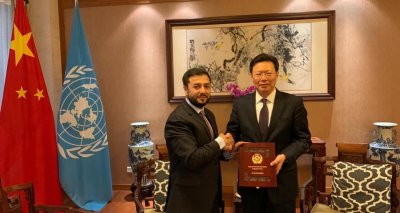 Dr.Nasir Ahmad Andisha, Ambassadors and PR of I.R of Afghanistan in Geneva met Mr. Yu Jianhua Ambassador and PR of the People's Republic of China.