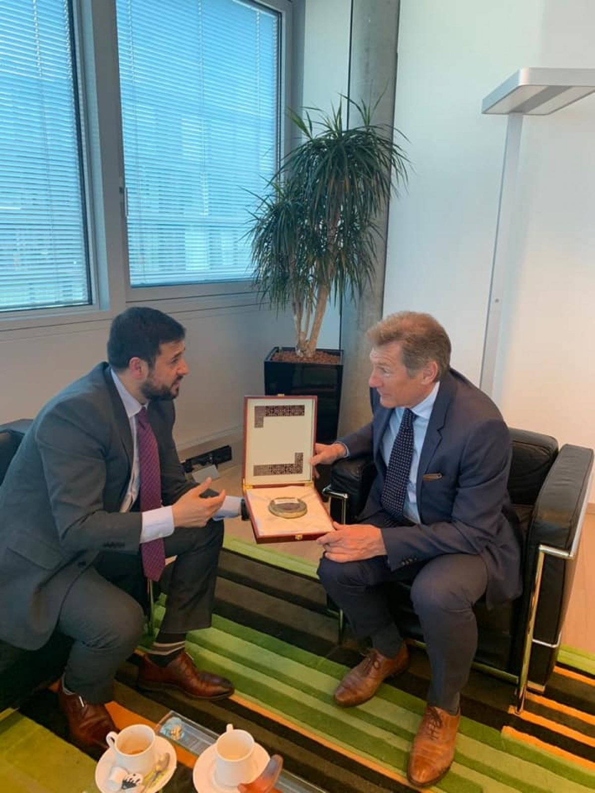 The Permanent Representative of the I.R of Afghanistan to the UNOG, Ambassador Nasir Ahmad Andisha had a meeting with the head of the EU delegation to the United Nations in Geneva, Ambassador, Walter Stevens