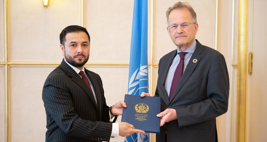 تقدیم اعتمادنامه دوکتور نصیر احمد اندیشه سفیر کبیر و نماینده دایمی جدید افغانستان در ژنیو