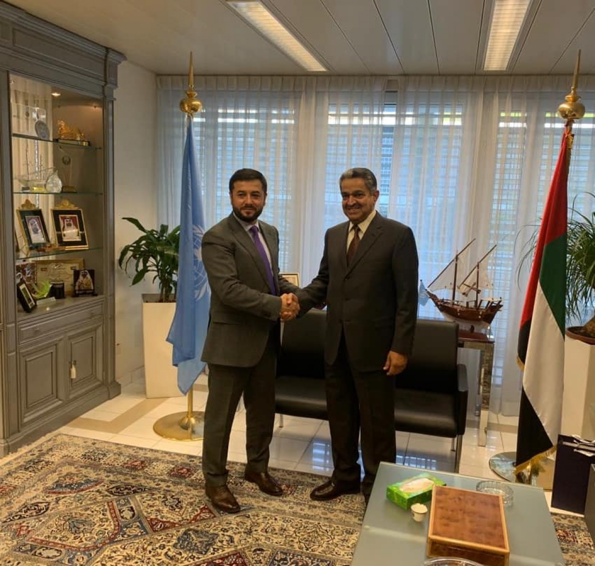 Ambassador Nasir Andisha paid a courtesy visit with the UAE Ambassador Obaid Salem Saeed Nasser Alzaabi .