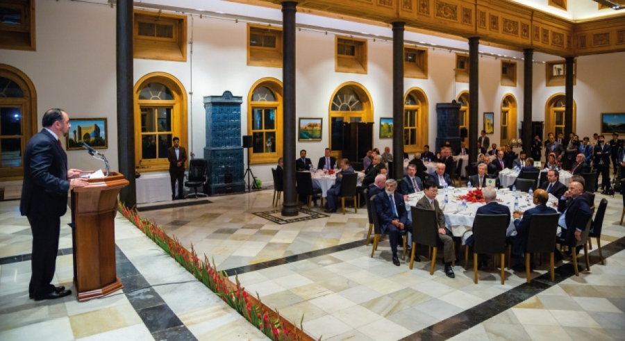 محفل ضیافت شام در رابطه به نشست ژنیوا به میزبانی جلالتمآب صلاح الدین ربانی وزیر امور خارجه